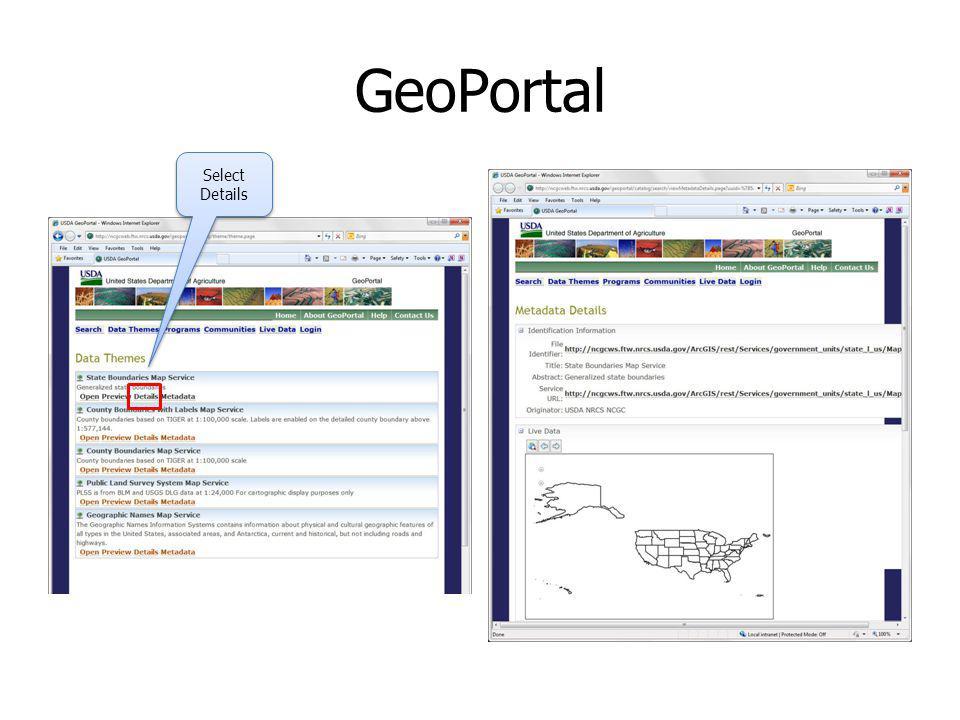 GeoPortal Select Details