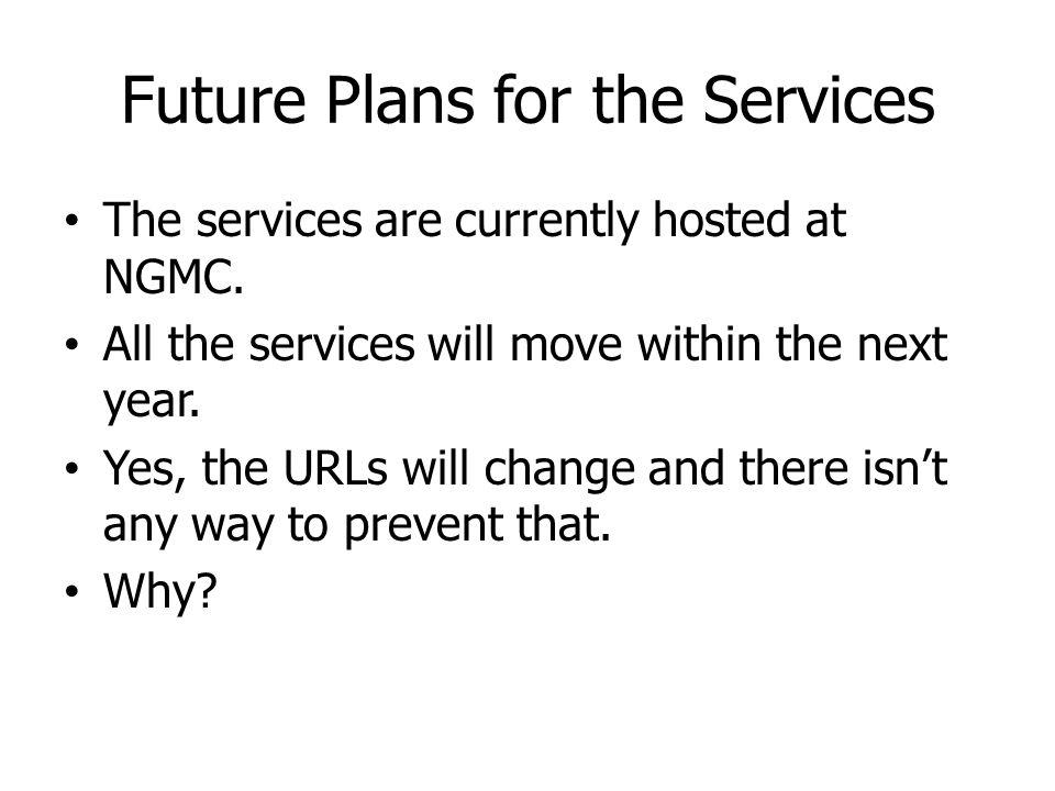 Future Plans for the Services