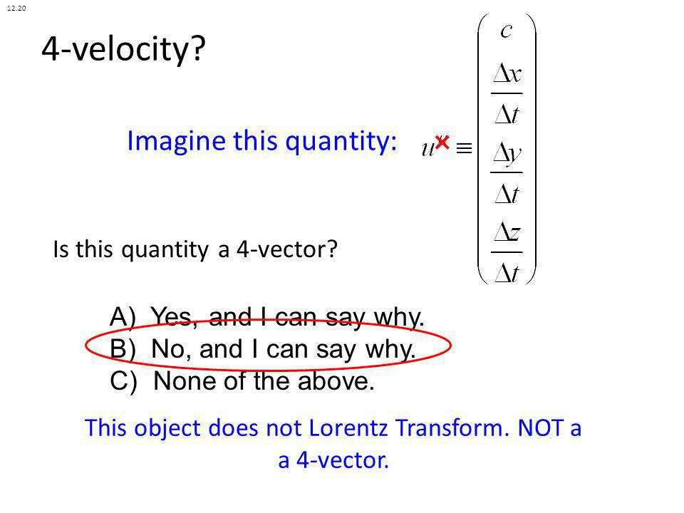 This object does not Lorentz Transform. NOT a a 4-vector.