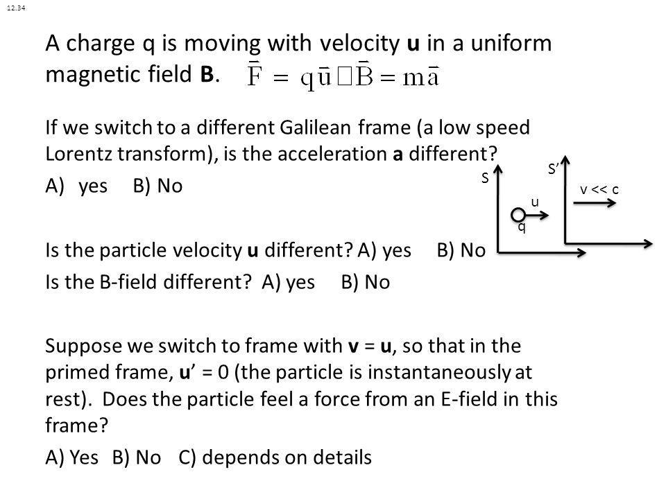 A charge q is moving with velocity u in a uniform magnetic field B.
