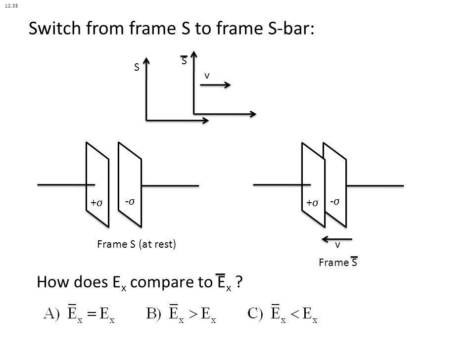 Switch from frame S to frame S-bar: