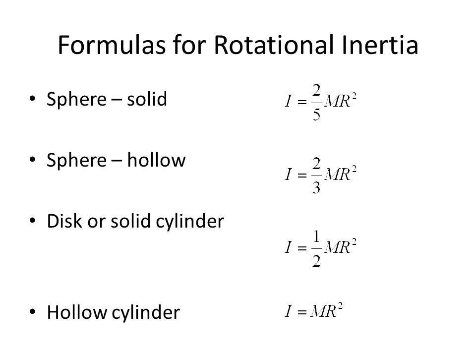 Formulas for Rotational Inertia