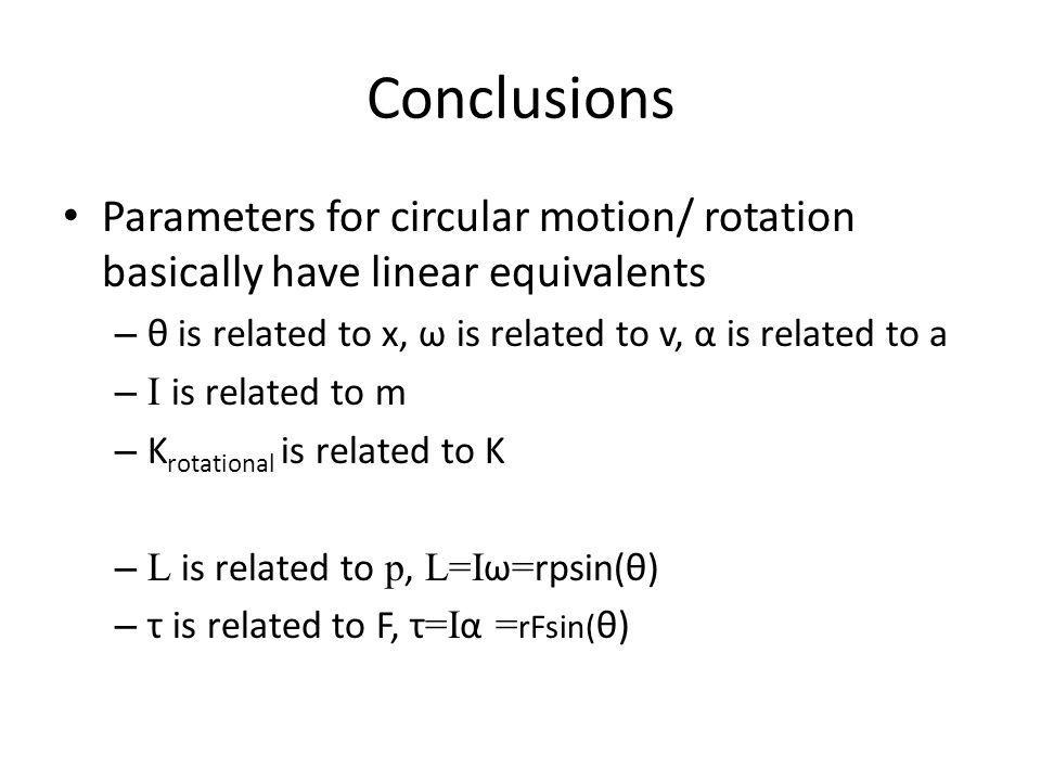Conclusions Parameters for circular motion/ rotation basically have linear equivalents. θ is related to x, ω is related to v, α is related to a.