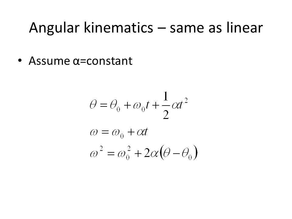 Angular kinematics – same as linear