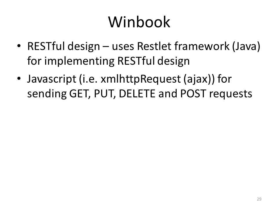 Winbook RESTful design – uses Restlet framework (Java) for implementing RESTful design.
