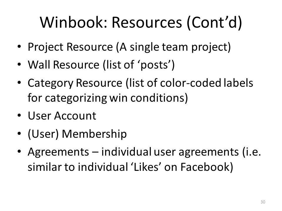 Winbook: Resources (Cont'd)