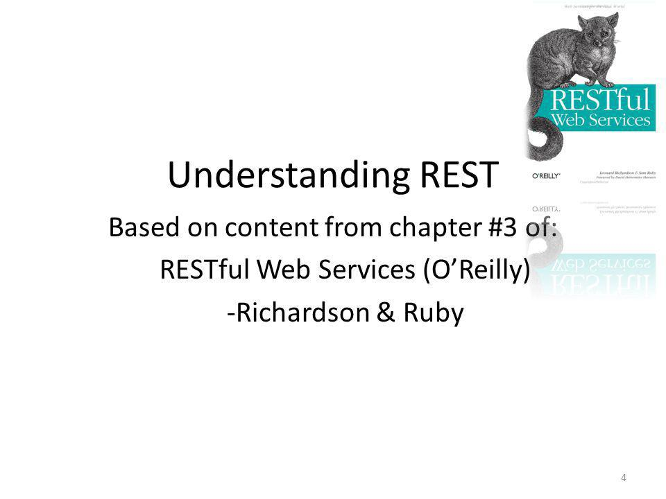 Understanding REST Based on content from chapter #3 of: RESTful Web Services (O'Reilly) -Richardson & Ruby