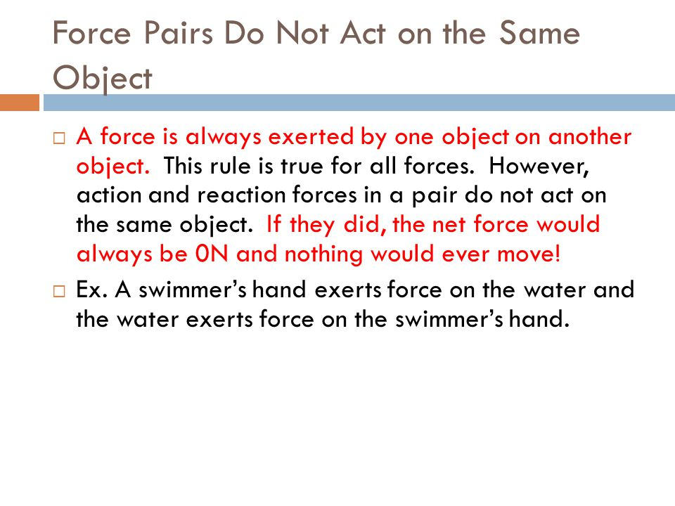 Force Pairs Do Not Act on the Same Object