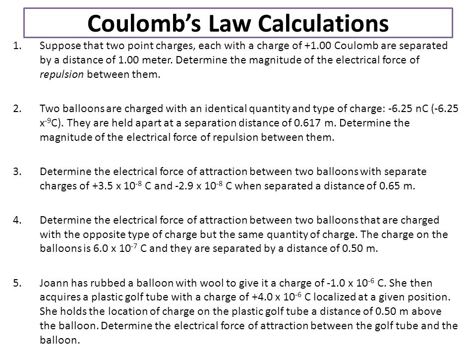 Coulomb's Law Calculations