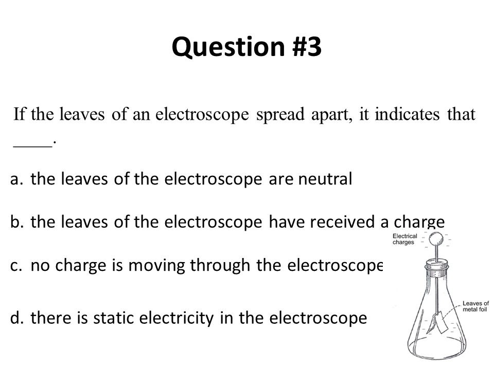 Question #3 If the leaves of an electroscope spread apart, it indicates that ____. a. the leaves of the electroscope are neutral.