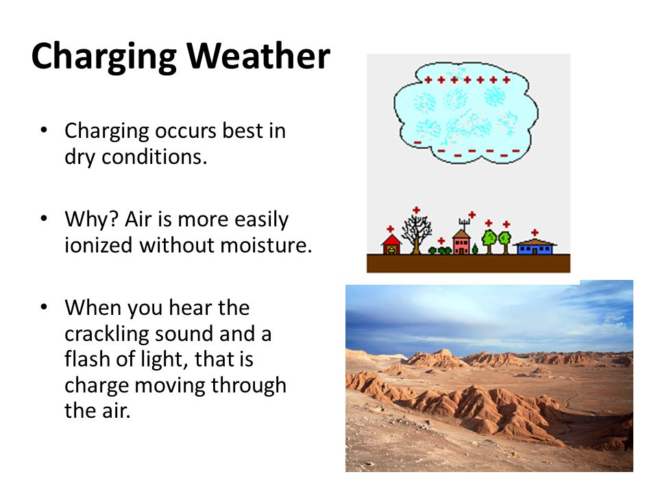 Charging Weather Charging occurs best in dry conditions.