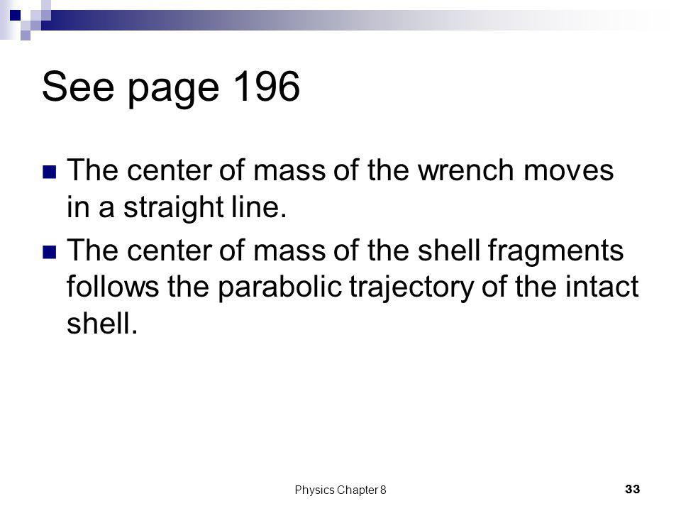 See page 196 The center of mass of the wrench moves in a straight line.