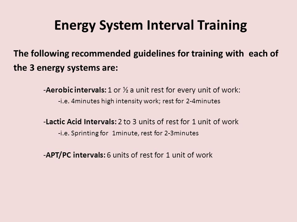 Energy System Interval Training