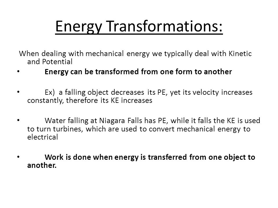 Energy Transformations: