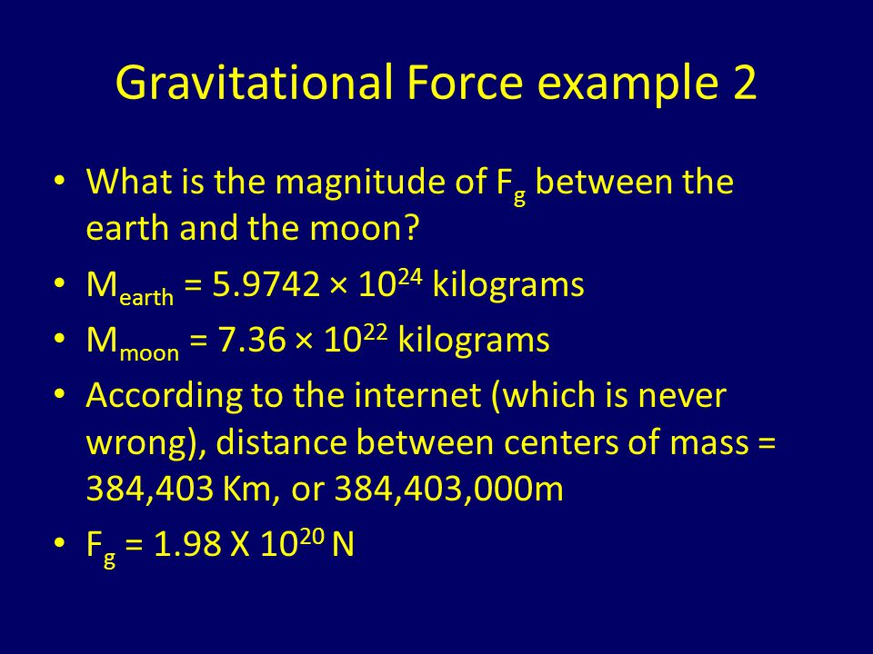 Gravitational Force example 2