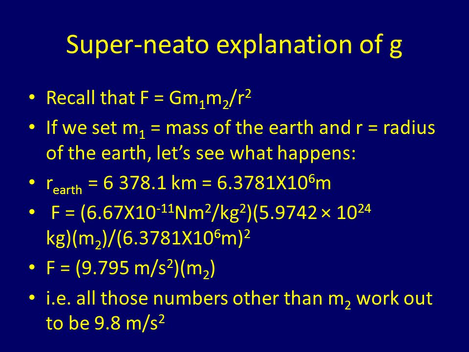 Super-neato explanation of g