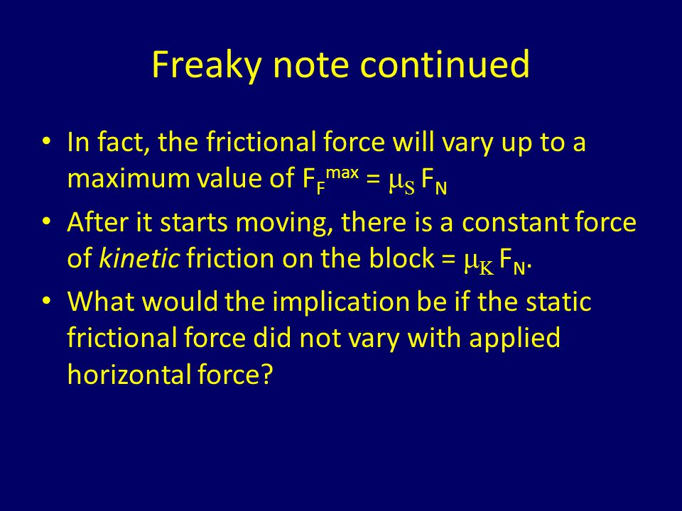 Freaky note continued In fact, the frictional force will vary up to a maximum value of FFmax = μS FN.