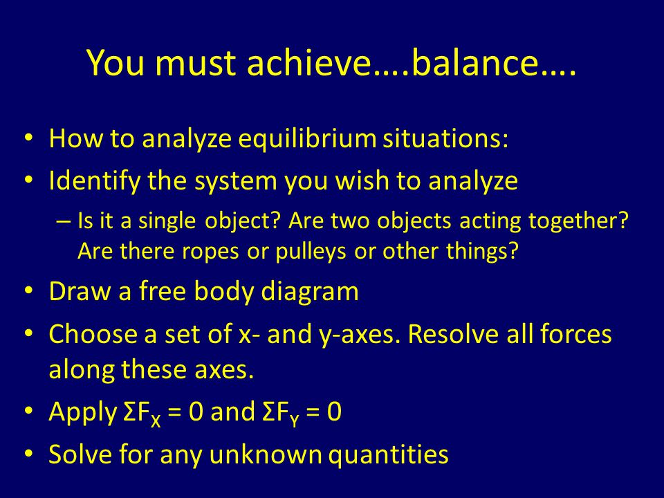 You must achieve….balance….
