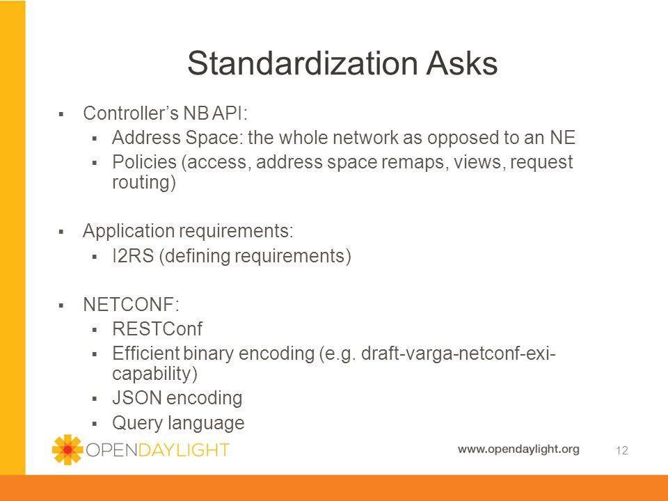 Standardization Asks Controller's NB API: