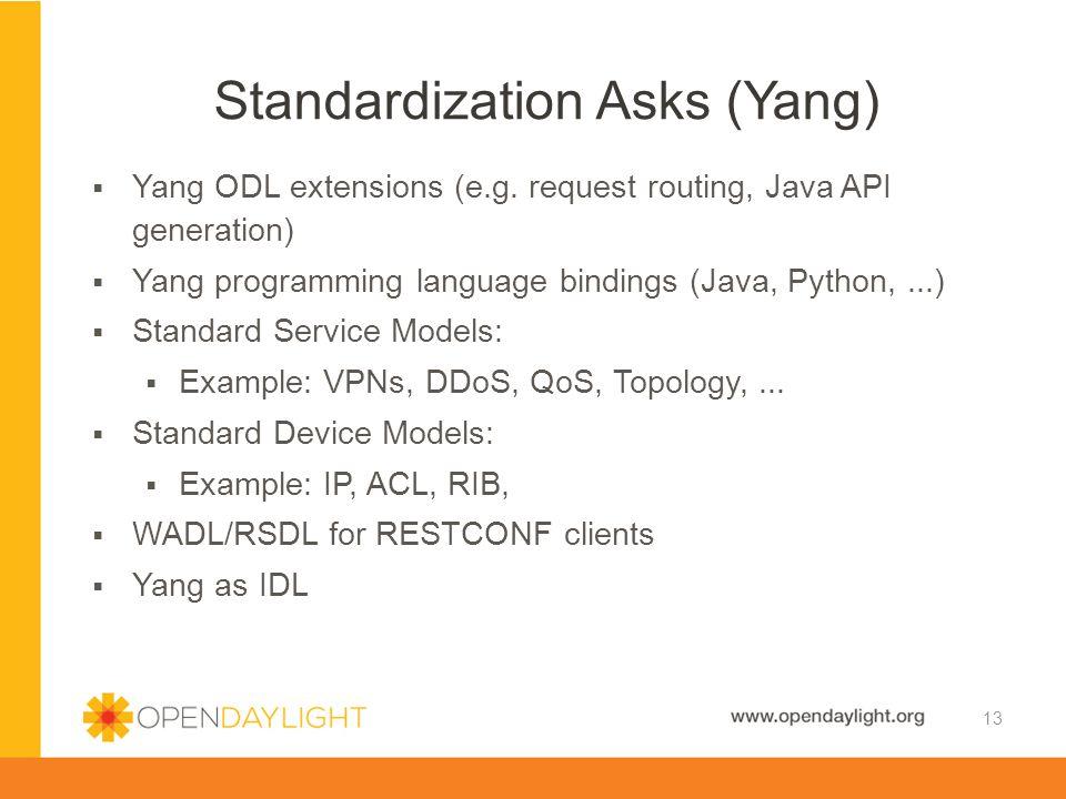 Standardization Asks (Yang)