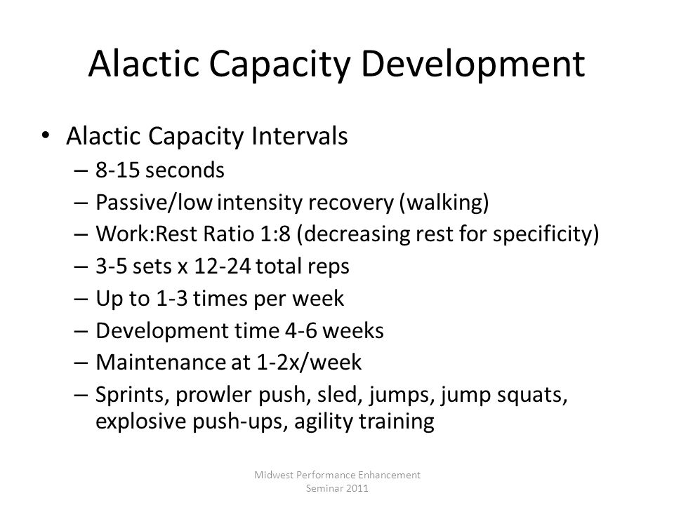 Alactic Capacity Development