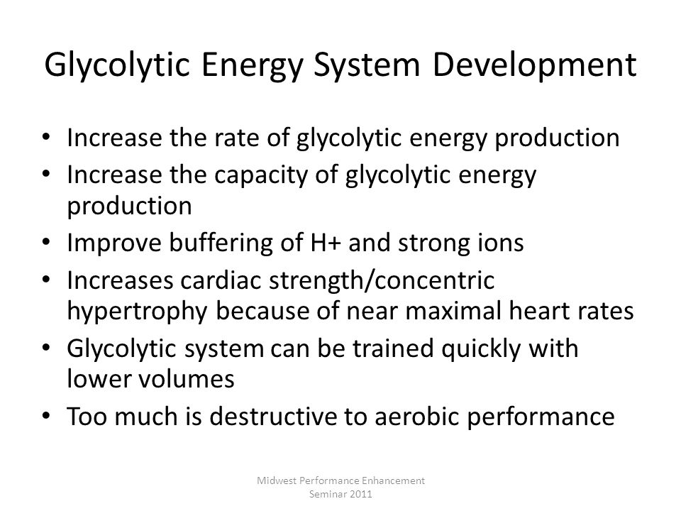 Glycolytic Energy System Development