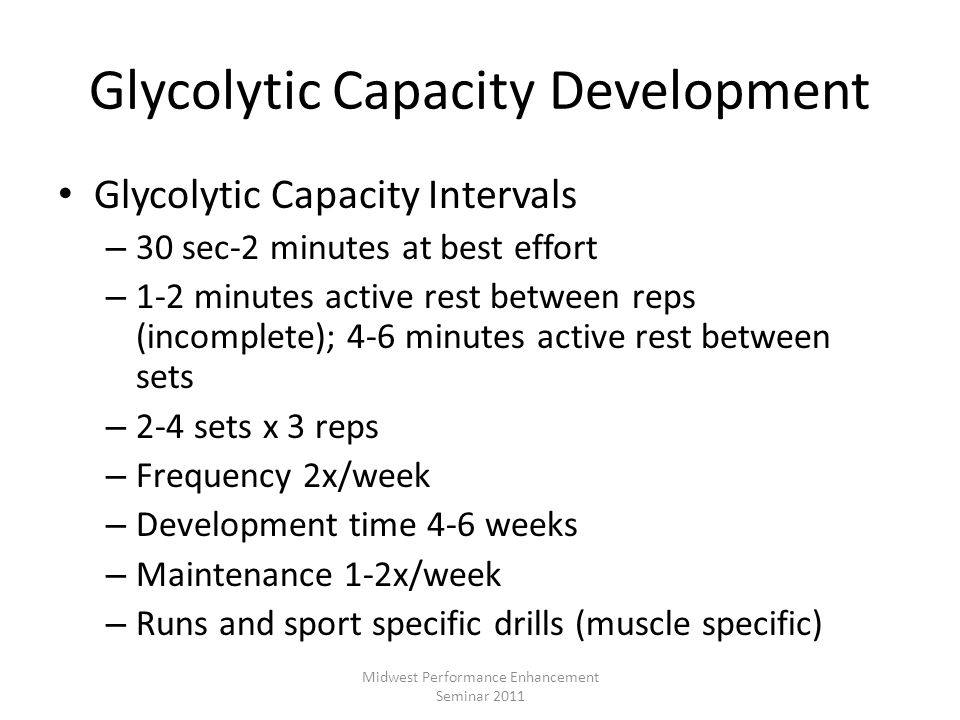 Glycolytic Capacity Development