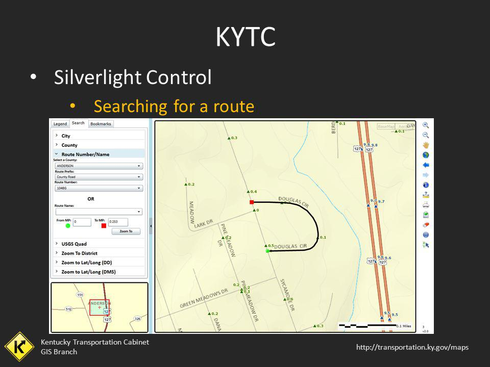 KYTC Silverlight Control Searching for a route