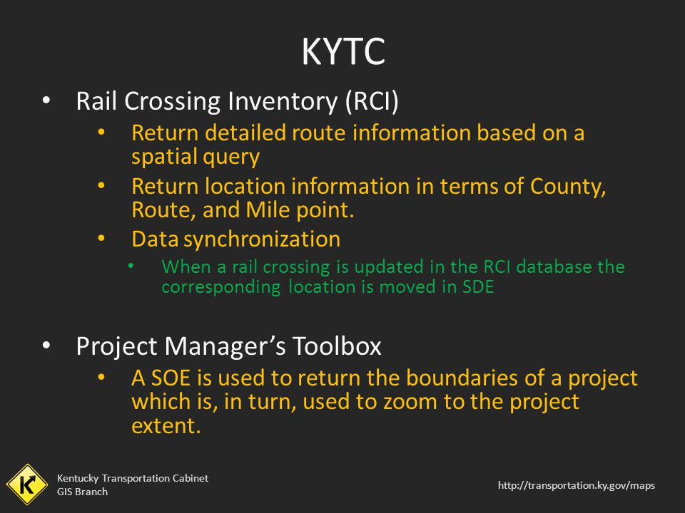 KYTC Rail Crossing Inventory (RCI) Project Manager's Toolbox