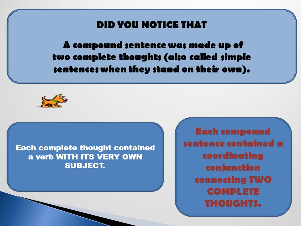 A compound sentence was made up of