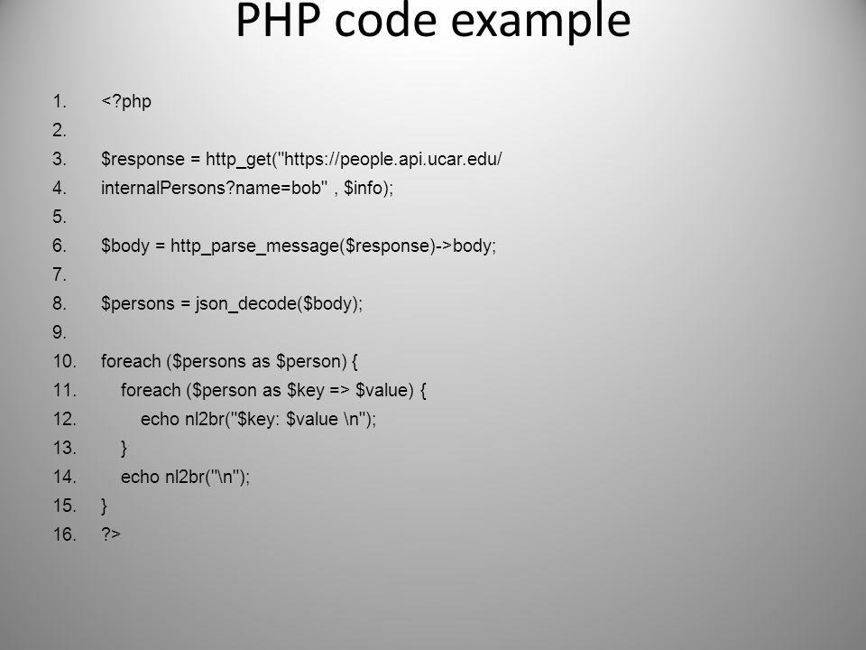 PHP code example < php