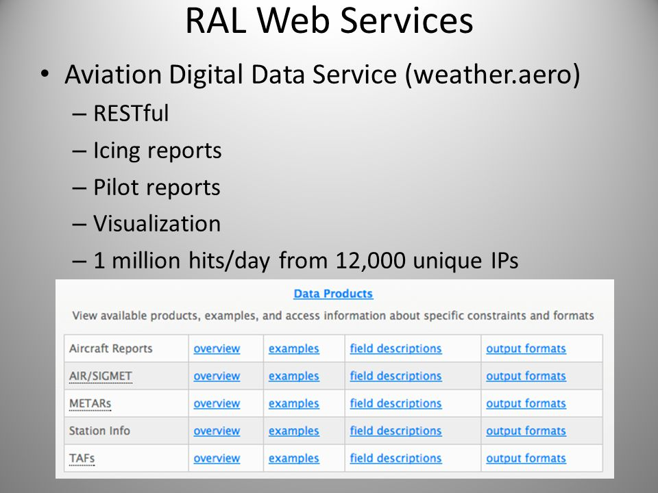 RAL Web Services Aviation Digital Data Service (weather.aero) RESTful