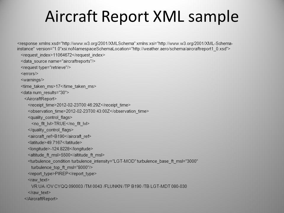 Aircraft Report XML sample