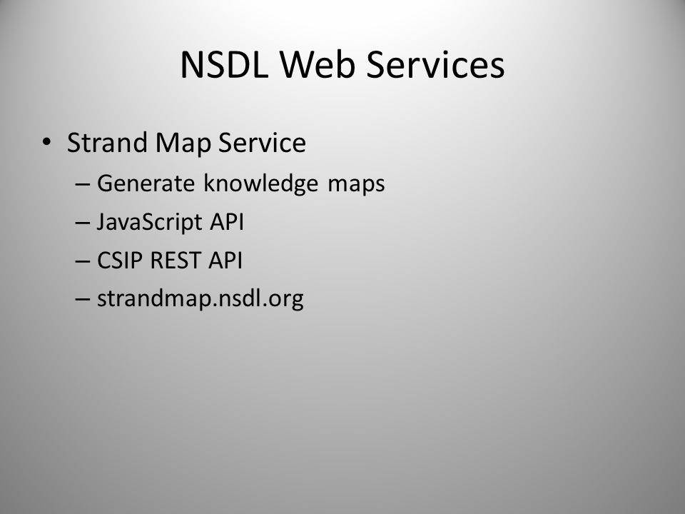 NSDL Web Services Strand Map Service Generate knowledge maps