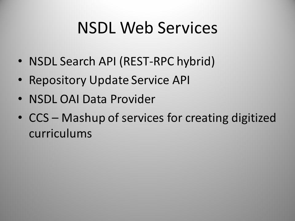 NSDL Web Services NSDL Search API (REST-RPC hybrid)