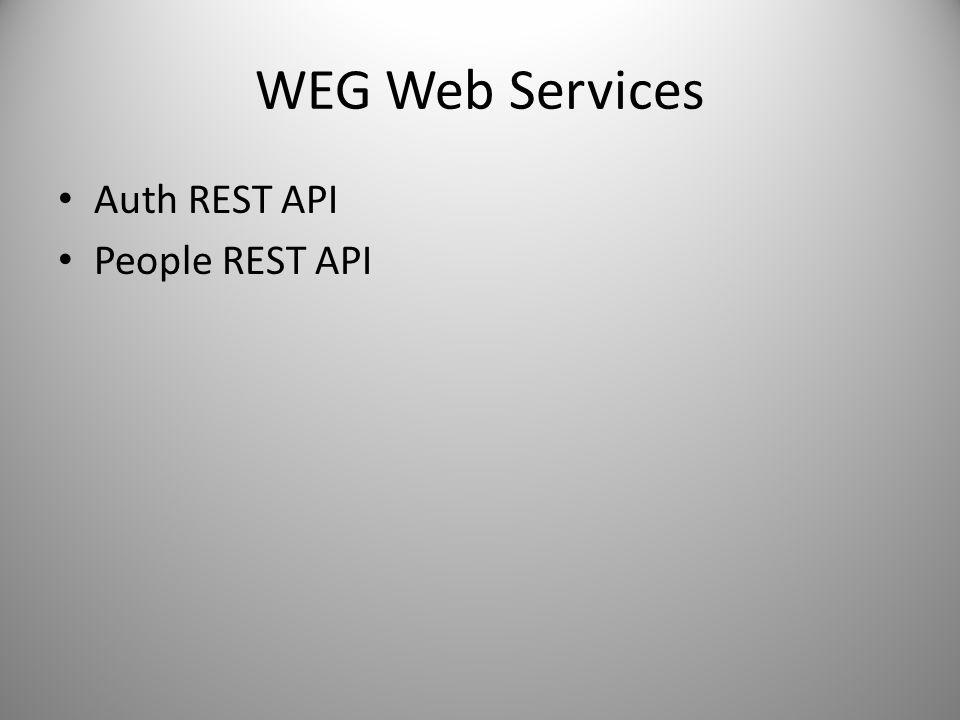 WEG Web Services Auth REST API People REST API