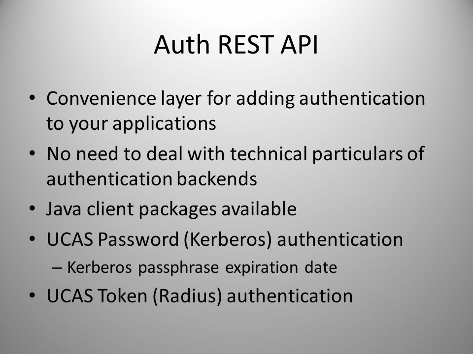 Auth REST API Convenience layer for adding authentication to your applications.