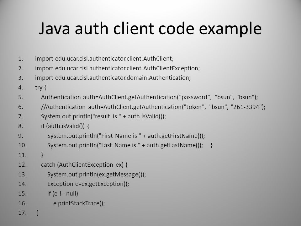 Java auth client code example