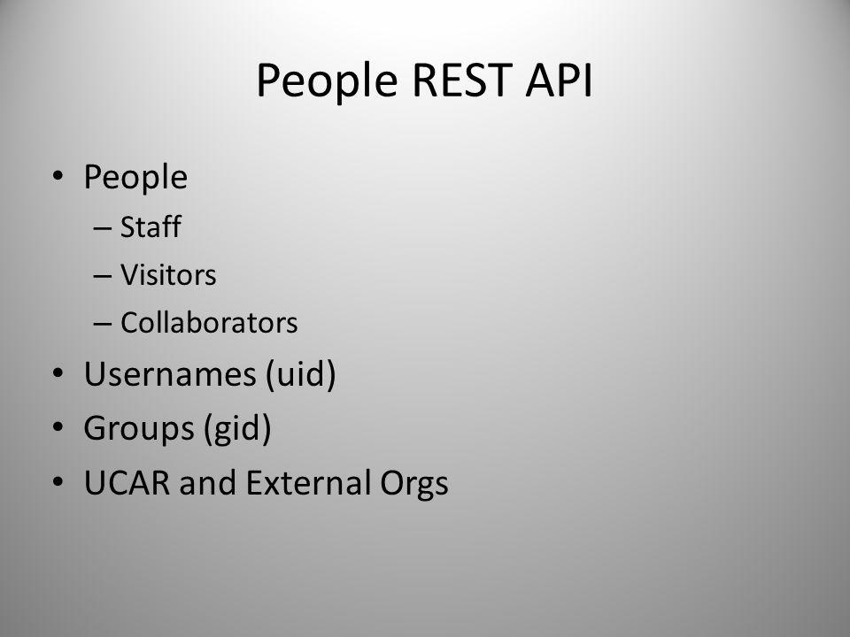 People REST API People Usernames (uid) Groups (gid)