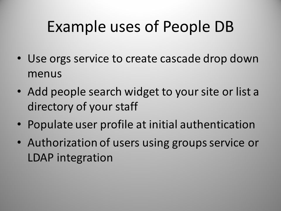 Example uses of People DB