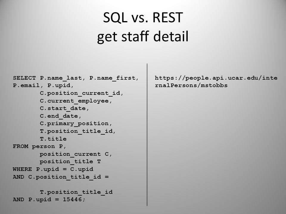 SQL vs. REST get staff detail