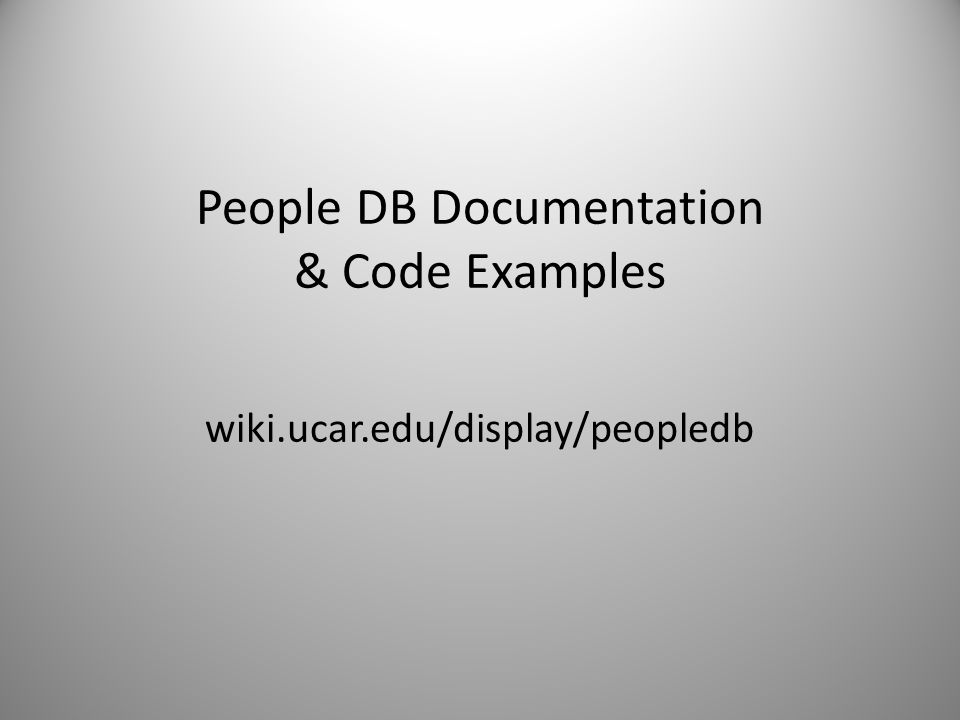 People DB Documentation & Code Examples