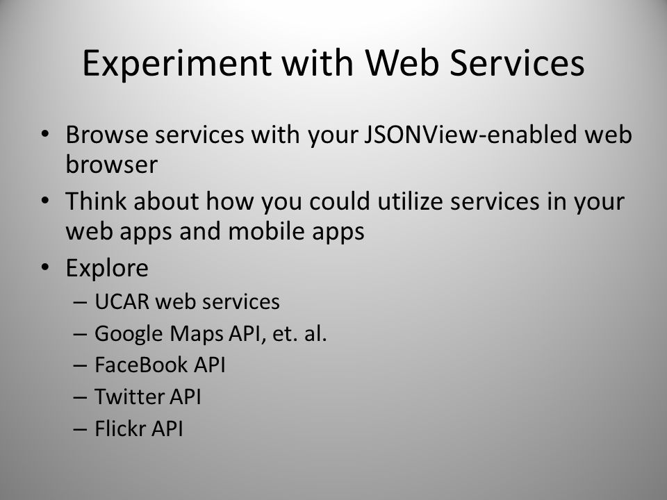Experiment with Web Services