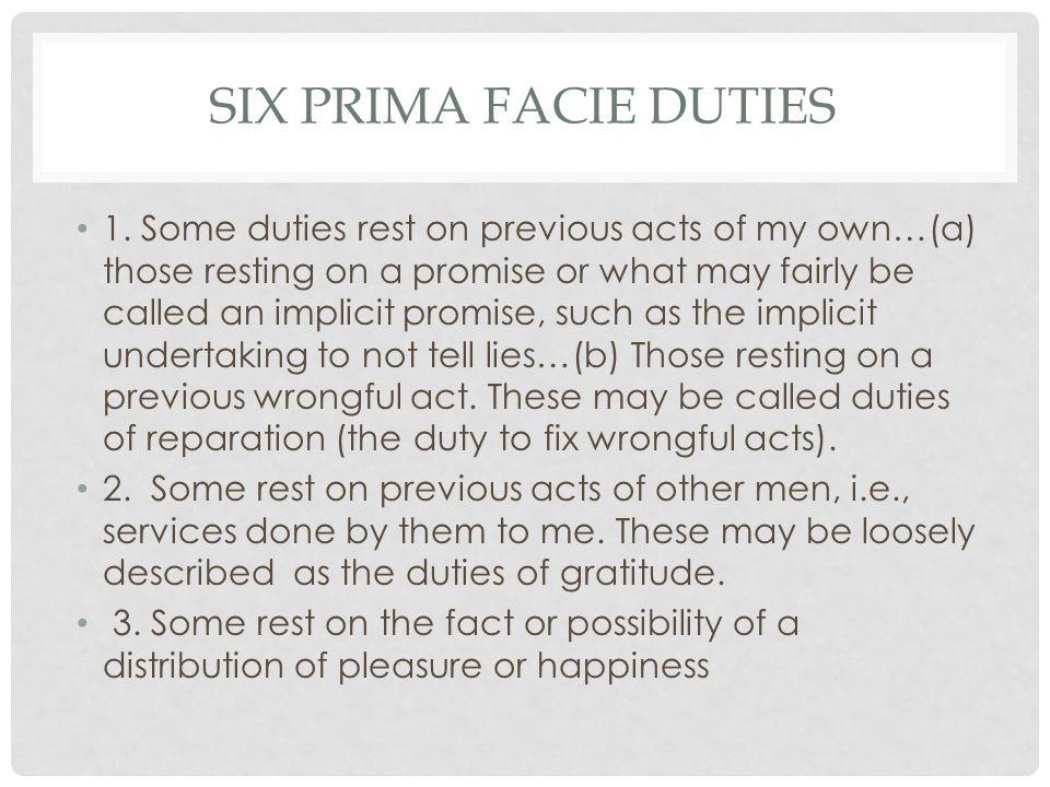 six Prima Facie Duties
