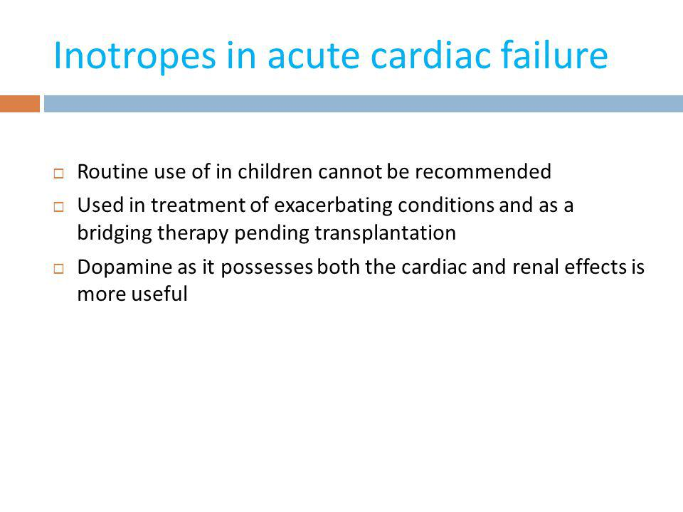 Inotropes in acute cardiac failure