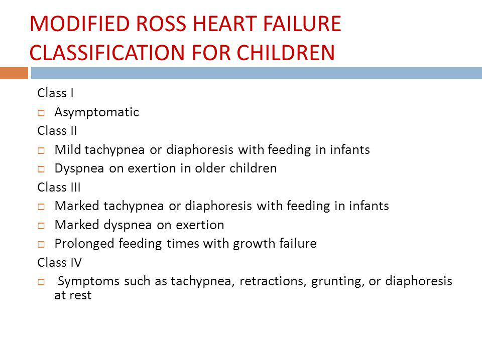 MODIFIED ROSS HEART FAILURE CLASSIFICATION FOR CHILDREN