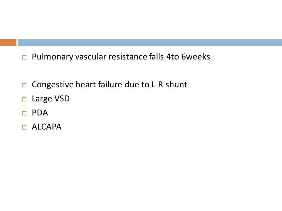 Pulmonary vascular resistance falls 4to 6weeks
