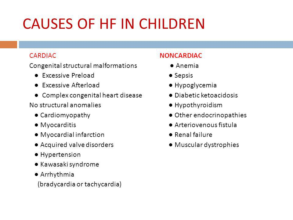CAUSES OF HF IN CHILDREN
