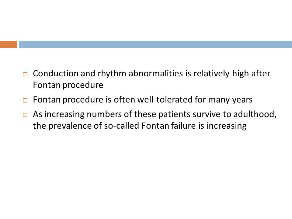 Conduction and rhythm abnormalities is relatively high after Fontan procedure