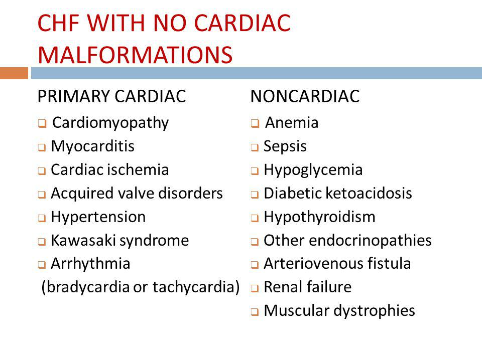 CHF WITH NO CARDIAC MALFORMATIONS